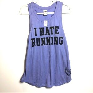 NWT VS Pink I Hate Running Purple Tank M